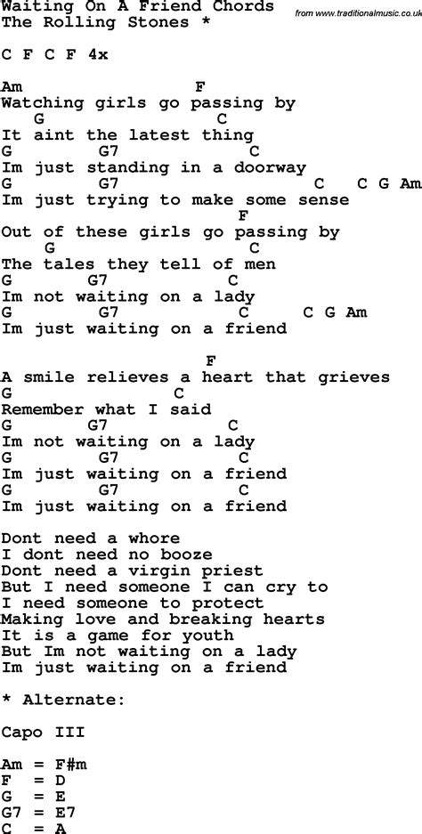 song for a friend song lyrics with guitar chords for waiting on a friend