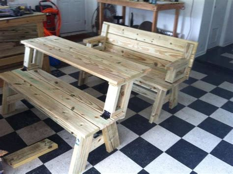 convertible benchpicnic table diy crafts pinterest