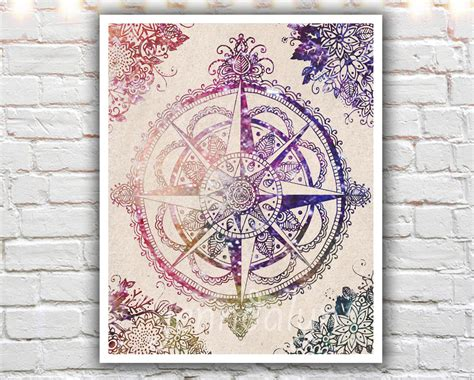 compass rose wall decor bohemian art travel gifts travel