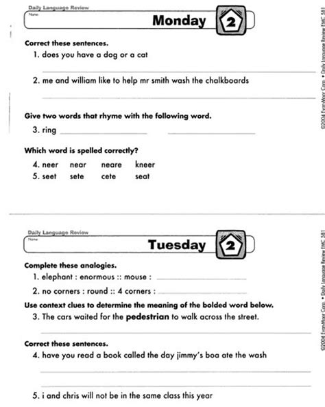 Daily Language Review Grade 5 Worksheets by Daily Language Review Grade 3