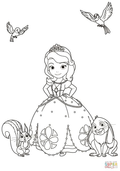 sofia coloring pages games sofia with animals coloring page free printable coloring