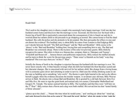To The Slaughter Essay by To The Slaughter Roald Dahl Essay Seattle Pacific Mfa In Creative Writing Reviews