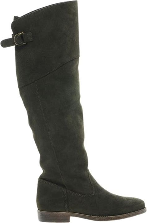 asos countdown suede knee high boots in green lyst