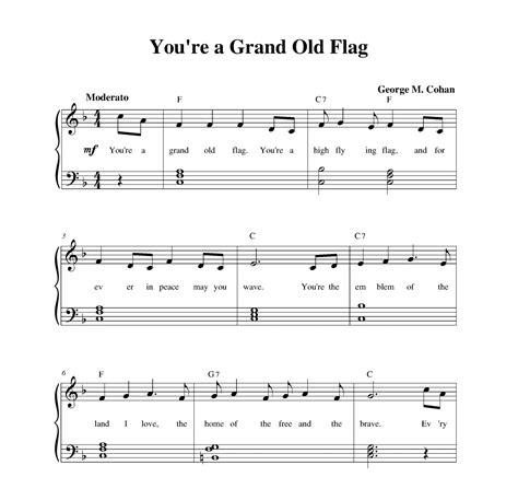 printable lyrics to you re a grand old flag you re a grand old flag