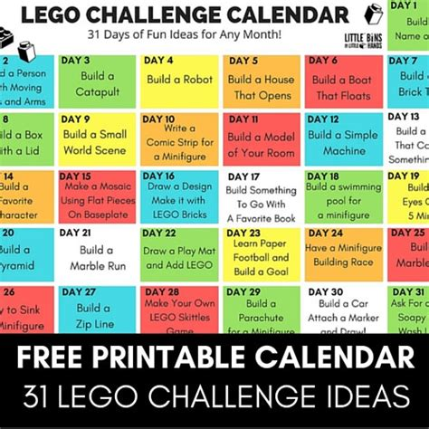 lego challenges for children lego challenge calendar free printable lego stem for