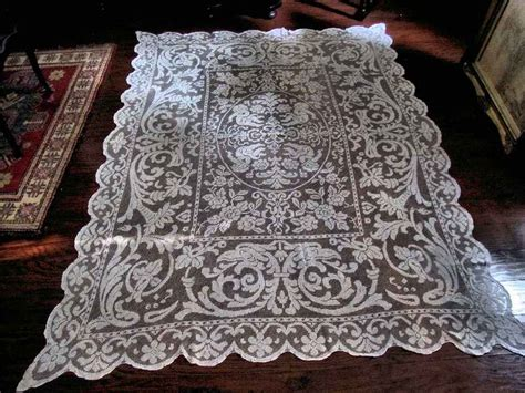 Handmade Lace Tablecloth - tablecloth 165 vintage handmade figural lace tablecloth