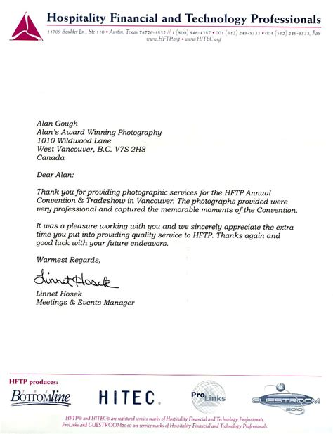Financial Recommendation Letter Testimonials Letters Reference Letters Of Reference Alan S Award Winning Photography Photography