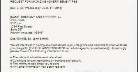 Inquiry Letter Publisher Every Bit Of Advertising Fee Inquiry Letter For Magazines News Paper
