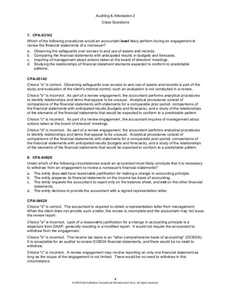 Compilation Report Engagement Letter 2009 a 2 class questions preview