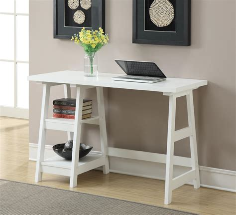 Small Working Desk Convenience Concepts White Trestle Desk