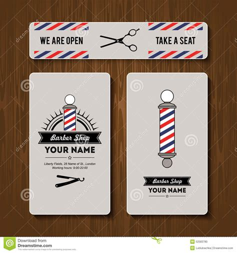 Hair Salon Barber Shop Business Card Design Template Set Stock Illustration Image 52583780 Free Barber Business Card Template