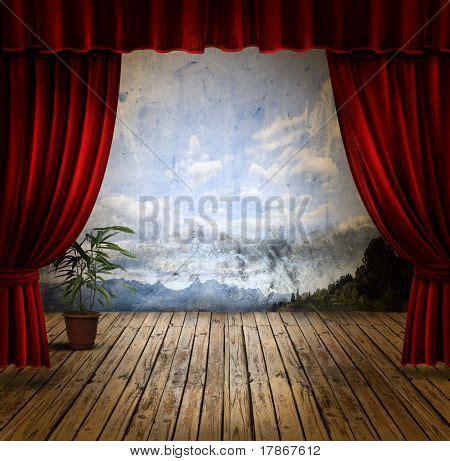Velvet Stage Curtains Small Stage Velvet Theater Image Photo Bigstock