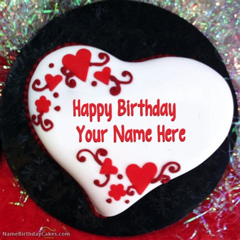 happy birthday design with name heart shaped birthday cake with name