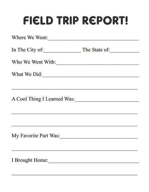 field trip template erie canal field trip free printable report