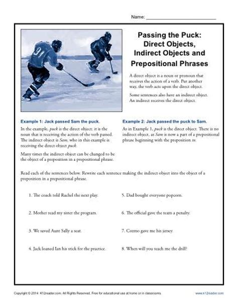 direct object worksheets passing the puck direct objects indirect objects and prepositional phrases