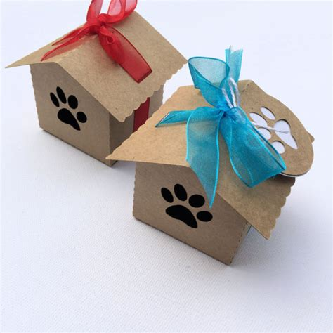 dog house box kraft dog paw dog house gift boxes party favors pet lover