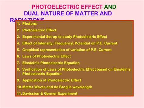 what is nature of matter photoelectric effect and dual nature of matter and