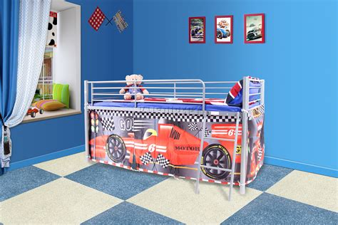 three in the middle childrens bed tent foxhunter childrens metal mid sleeper cabin bunk bed kids