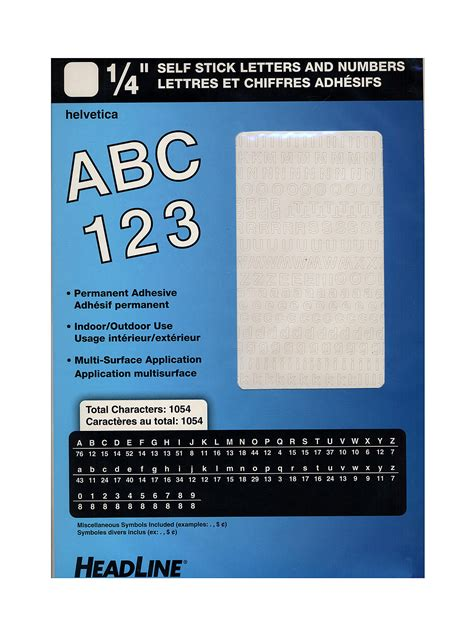 headline white vinyl stick on letters or numbers