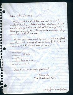 breakfast club letter 1000 images about the breakfast club on 1101