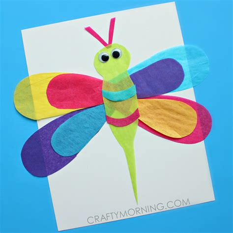 Childrens Paper Crafts - tissue paper dragonfly craft for crafty morning