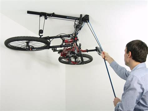 Ceiling Storage Pulley System by Horizontal Bike Lift Hoist Garage Bicycle Storage Pulley