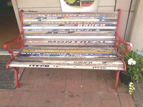 hockey benches hockey stick bench repurposing pinterest