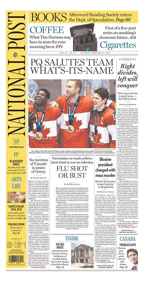 Picture Post Nation 25 by Las Portadas D 237 A En Montreal Y Toronto Martes 25 De