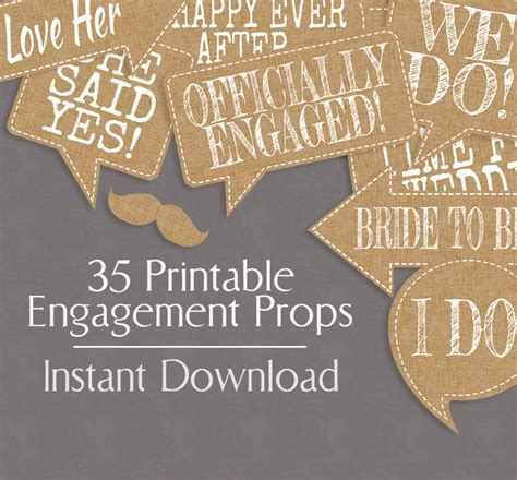printable photo booth props engagement 35 rustic engagement photo booth prop printables burlap