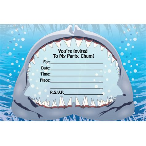 fill  shark birthday invitations  printable