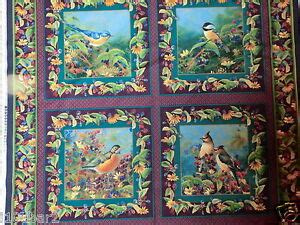 bird fabric  pillow panel  quilt top garden wings bty