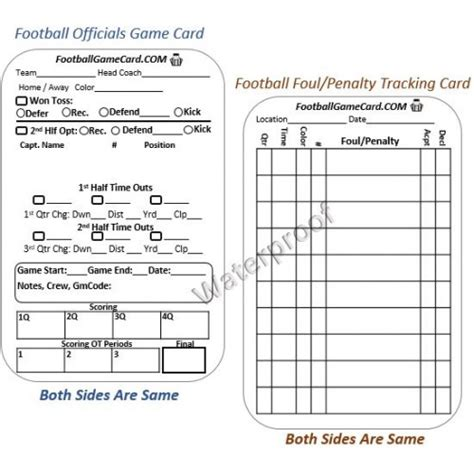 football referee information card template football referee card football officials penalty