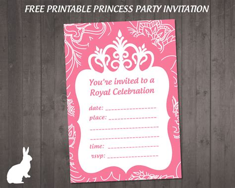 princess invitations printable free invitations ruby and the rabbit