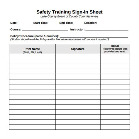sle training sign in sheet 11 exles format