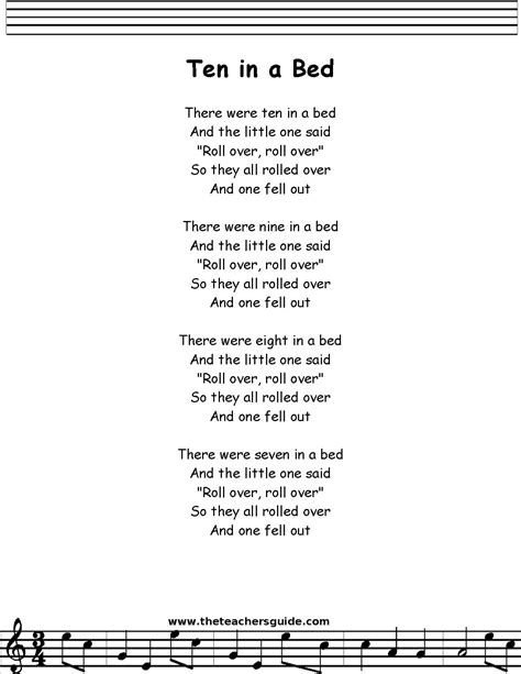 the bed song ten in a bed lyrics printout midi and video
