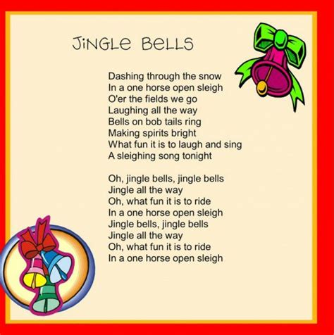 printable lyrics jingle bells christmas carols for children