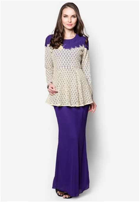 Just Baju Menyusui Purple Ma103 crochet bodice peplum baju kurung moden from era in purple and beige blouse