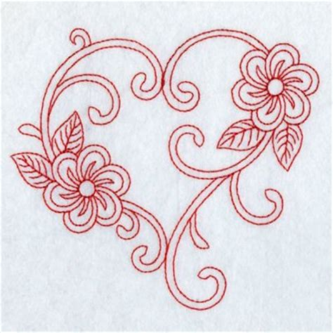 heart embroidery pattern redwork floral heart embroidery designs machine