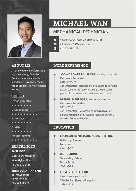 Mechanic Resume Template by Free Mechanic Resume And Cv Template In Psd Template Net