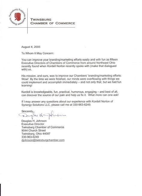 Visa Recommendation Letter From Chamber Of Commerce Reference Letter For Kordell Norton From Twinsburg Chamber Of Comerce