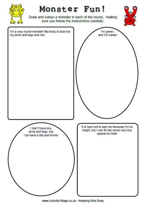 monster fun worksheets monster printables for kids