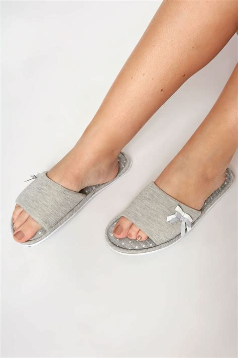 Pot Tawon No 27 grey spot slippers with bow detail