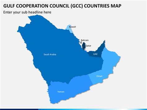 Gcc Countries Map Outline by Gulf Cooperation Council Gcc Map Powerpoint Sketchbubble