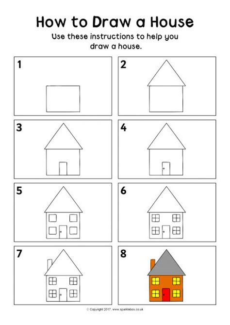 how to draw a house how to draw a house instructions sheet sb12162 sparklebox