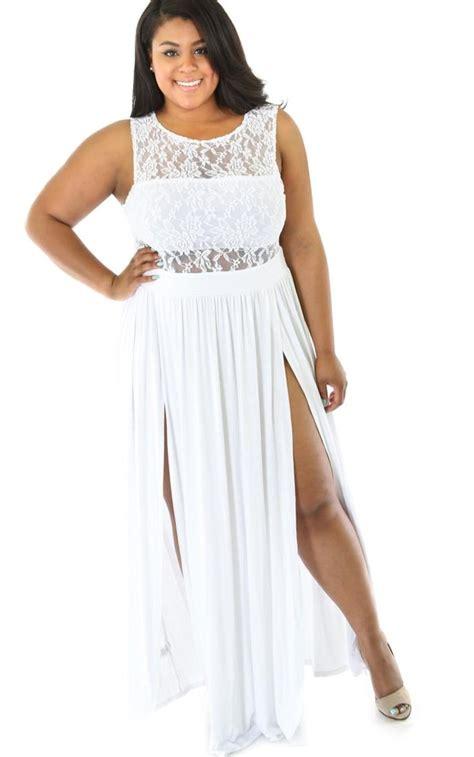 New Maxi Dress White all white maxi dress plus size pluslook eu collection