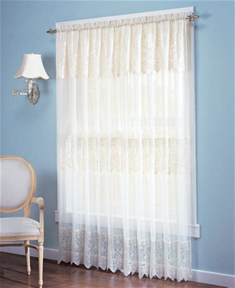 lace curtains with attached valance no 918 joy lace curtain panel with attached valance