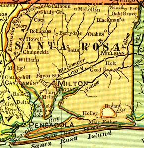 map of santa rosa florida santa rosa county 1909
