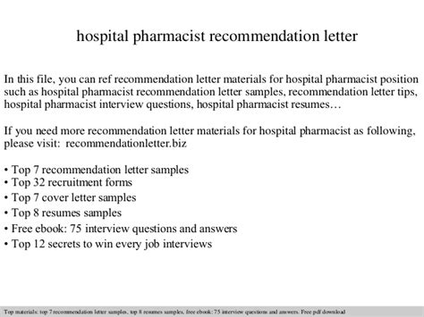 Recommendation Letter For Pharmacist Hospital Pharmacist Recommendation Letter
