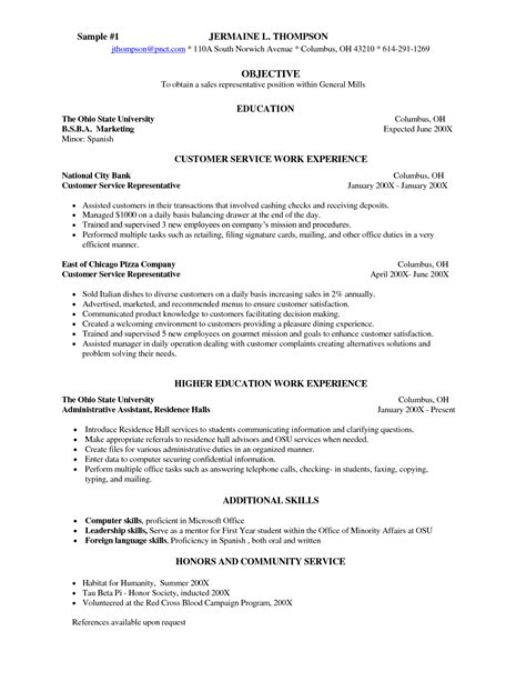 Server Resume Objective Exles by Sle Server Resume Templates Information Skills Template For Customer Service With Work