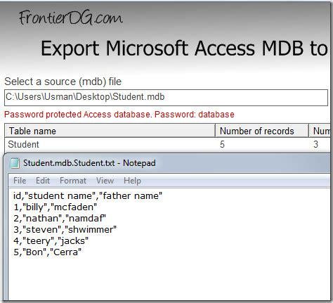 csv format text qualifier convert password protected access mdb file to csv format